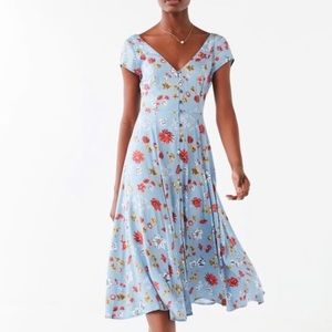 Urban Outfitters Malena Button Floral Midi Dress